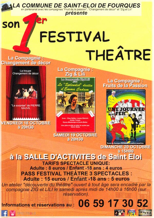 Festival de théâtre du 18 au 20 octobre à Saint-Eloi-de-Fourques
