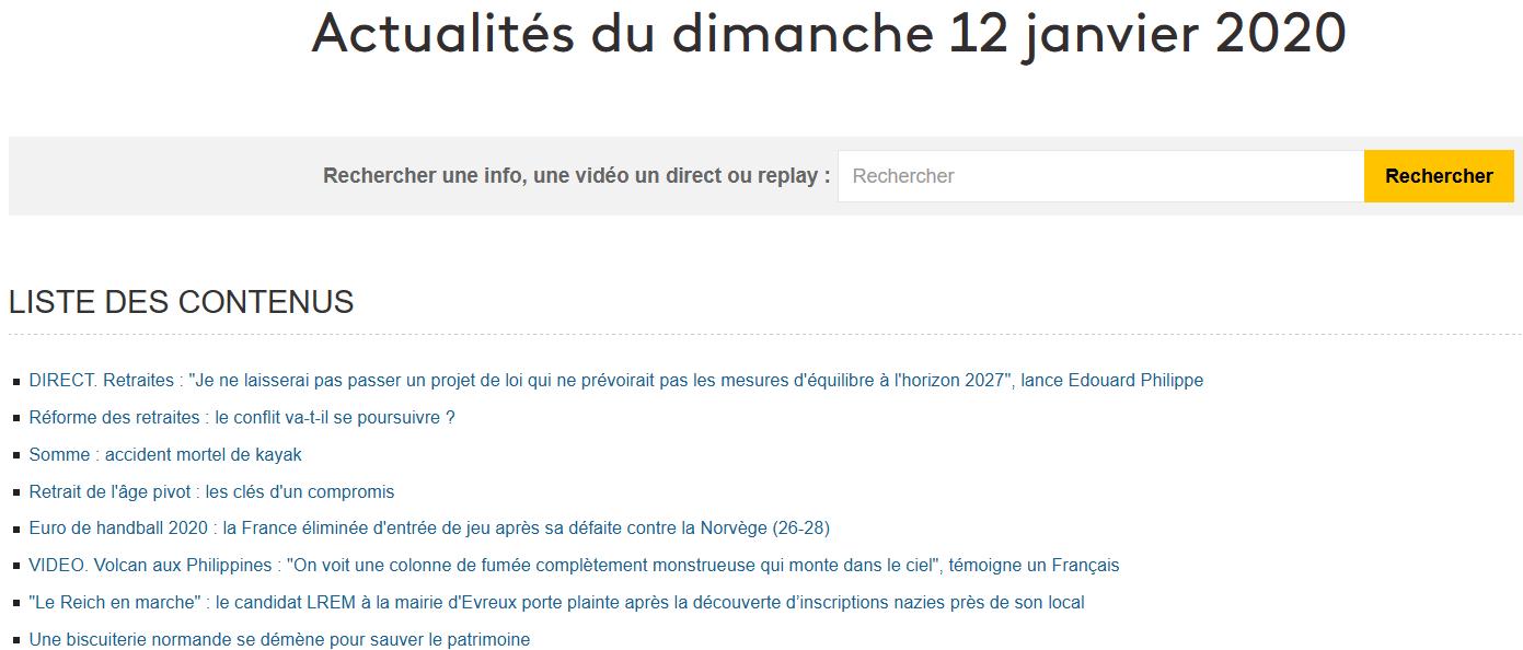 L'actualité du jour dans France Info
